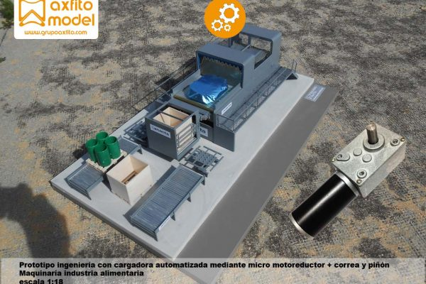 Maqueta prototipo máquina industria alimentaria