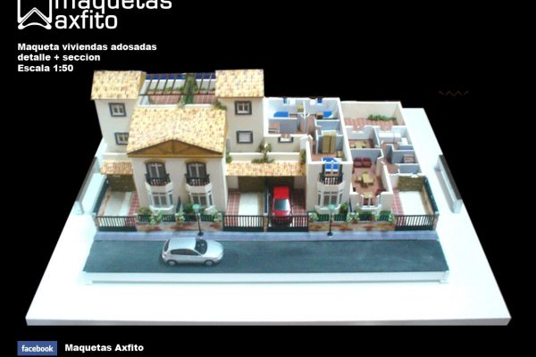 Maqueta viviendas adosadas en detalle y sección