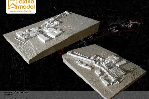 Maqueta arquitectónica PFC escala 1:500