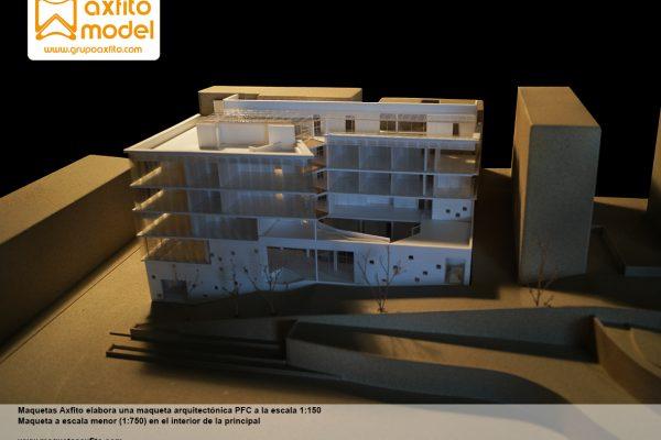 Maqueta arquitectónica PFC elaborada a la escala 1:150
