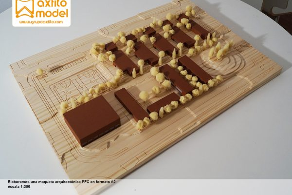 Maqueta Arquitectura PFC El Aula Ambiental escala 1:350