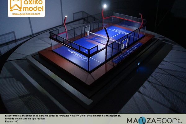La maqueta de la pista de padel Paquito Navarro Gold de Manzasport