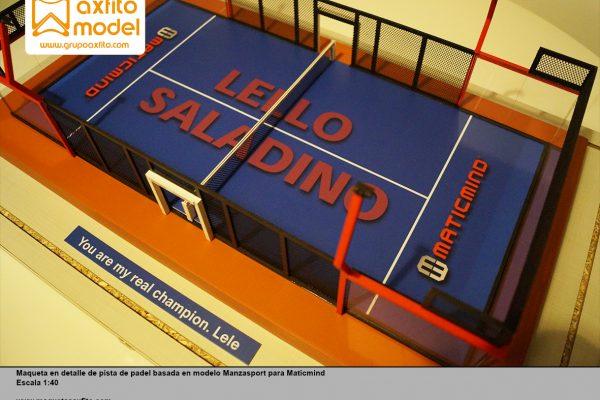 Maqueta de la pista de padel basada en el modelo Manzasport para la empresa Maticmind